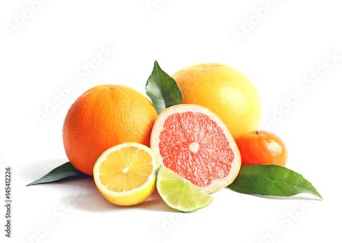 Leinwand Poster Citrus fruits on white background