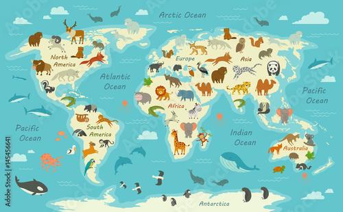 Ilustracja wektorowa mapy świata ze zwierzętami