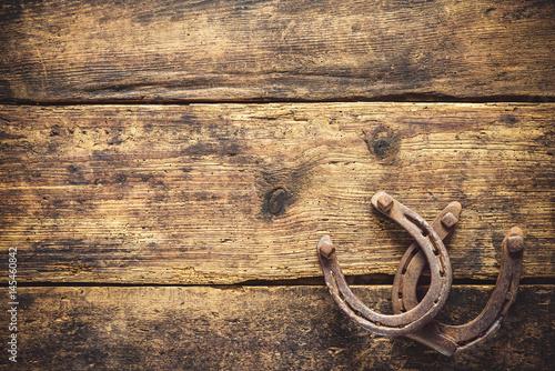 Obraz na plátně Two old rusty horseshoes