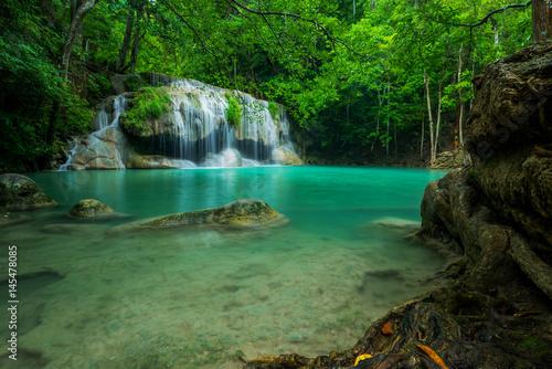 Beautiful and Breathtaking green waterfall, Erawan's waterfall, Located Kanchanaburi Province, Thailand
