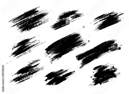 Obraz na plátne Set of black paint, ink brush strokes, lines.