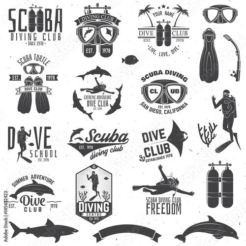 Set of Scuba diving club and diving school design. Fototapeta