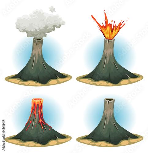 Volcano Mountains Set Fototapete