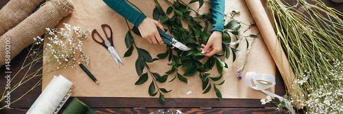 Florist preparing bouquet