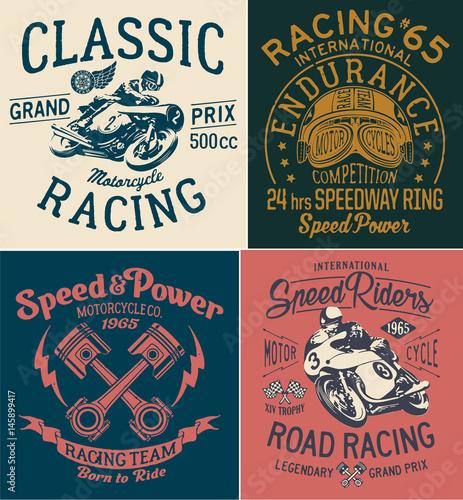 Fotografia Vintage motorcycle racing prints for boy t shirt
