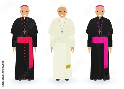 Fototapeta Pope, cardinal and bishop in characteristic clothes isolated on white background