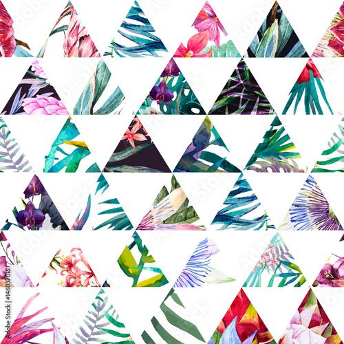 Fototapeta Tropikalny trójkątny wzór akwarela na białym tle ścienna