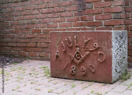 Fotografering Old Masonic Cornerstone