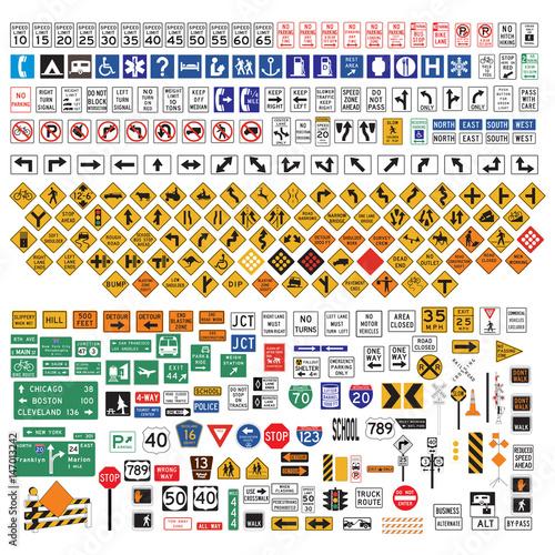Wallpaper Mural Road Signs and Symbols set
