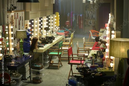 Billede på lærred the empty backstage room among a fashion show
