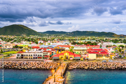 Canvas Print Basseterre, St. Kitts and Nevis port at dusk.