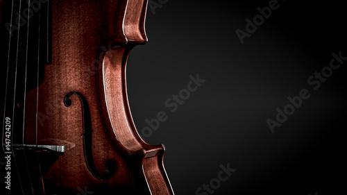 Fotografia Violin musical instruments of orchestra closeup on black