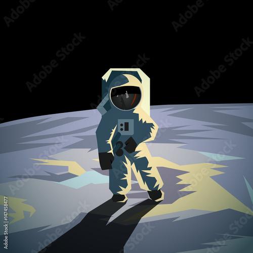Astronaut on the moon surface. Flat geometric space illustration. Fototapeta
