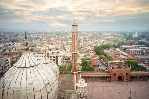 Naklejki na meble widok z lotu ptaka starego delhi z dachu Jama Masjid