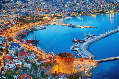 Obraz na plátně Aerial sunset view of Antalya, Turkey