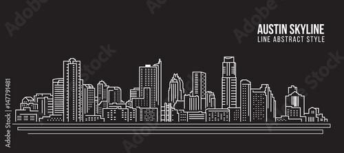 Cityscape Building Line art Projekt ilustracji wektorowych - Austin skyline city