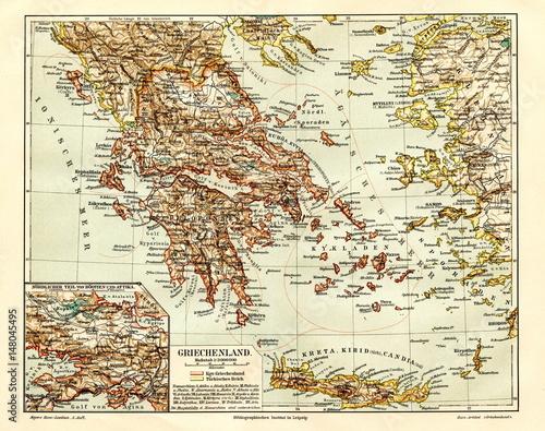 Wallpaper Mural Greece (from Meyers Lexikon, 1895, 7/944/945)
