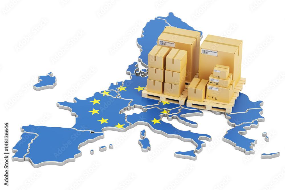 Wysyłka i dostawa od pojęcia Unii Europejskiej, renderowania 3D <span>plik: #148136646   autor: alexlmx</span>