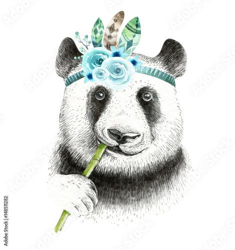 Watercolor panda illustration. Bohemian cute animal. Boho style. Nursary art print. Feathers collection