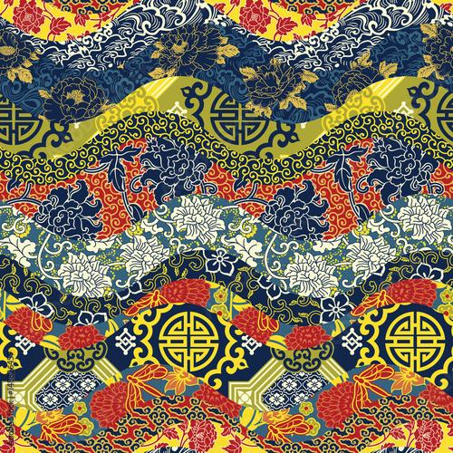 Chinese style waves patchwork  seamless pattern Fototapeta