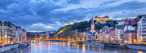 Tablou Canvas The Saone river in Lyon city