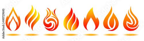 Valokuva Set logo fire. Vector illustration for design - for stock