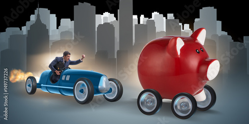 Obraz na płótnie Man chasing piggybank in business concept