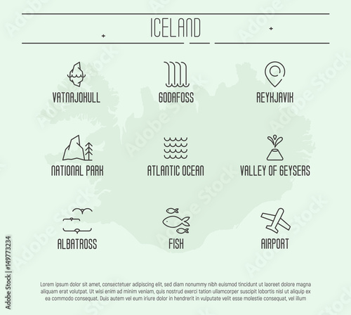 Set of thin line icons with Iceland symbols and attractions. Vector illustration.