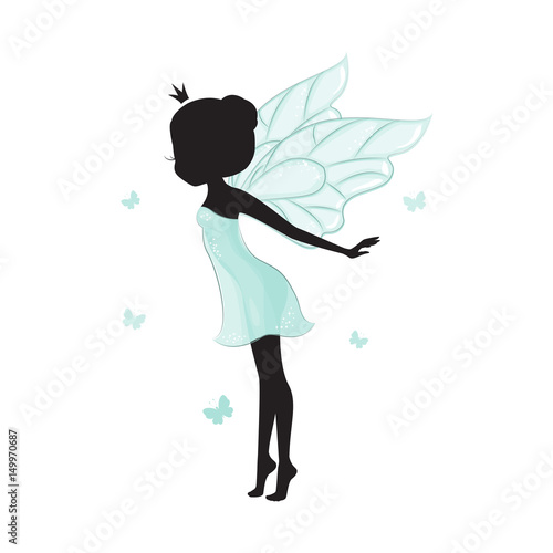 Silhouette of beautiful fairy. She is ballerina and dancing with batterfly. She is in a blue gentle, air dress.