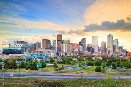 Panorama of Denver skyline at twilight.