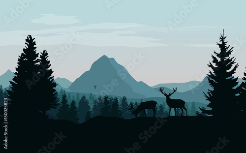 Fototapeta Landscape with blue mountains, forest and silhouettes of trees and wild deers -