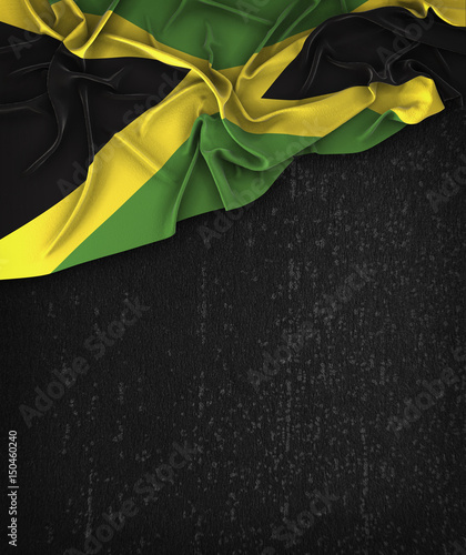 Photo Jamaica Flag Vintage on a Grunge Black Chalkboard With Space For Text