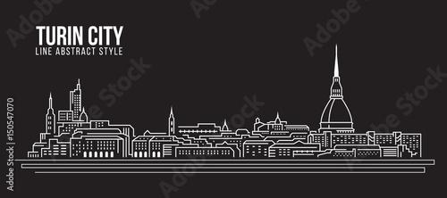 Fotografie, Obraz Cityscape Building Line art Vector Illustration design - Turin city