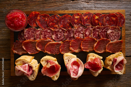 Iberian sausages ham board Tapas from spain