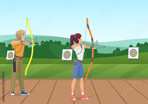 Obraz na płótnie Man and woman standing with bows and aiming to the target vector illustration