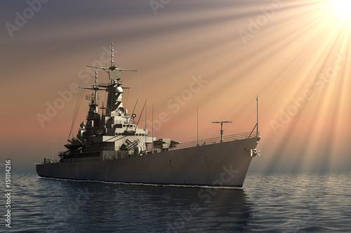 Wallpaper Mural American Modern Warship In Rays Of The Sun