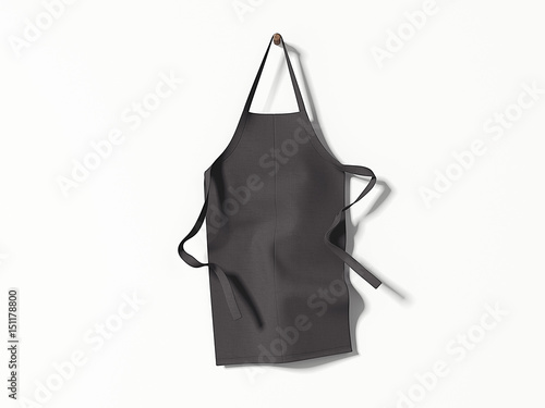 Fotomural Black blank apron hanging. 3d rendering