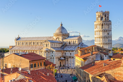 Carta da parati Cathedral (Duomo) and the Leaning Tower photographed from above the roofs, from