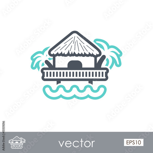 Bungalow with palm trees icon. Summer. Vacation Fototapet