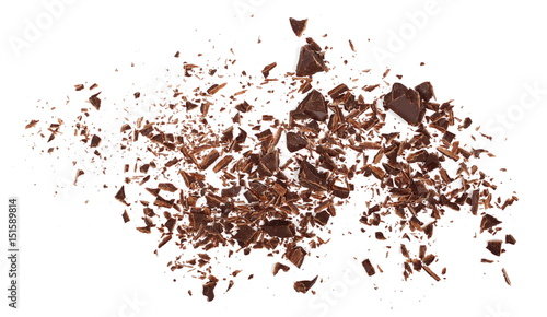 Fotografie, Obraz Pile chopped, milled chocolate isolated on white, top view