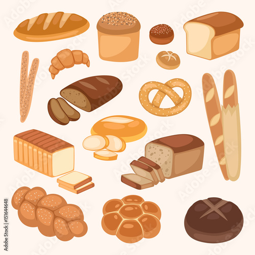 Fényképezés Bread bakery products color vector illustration organic agriculture meal fresh pastry