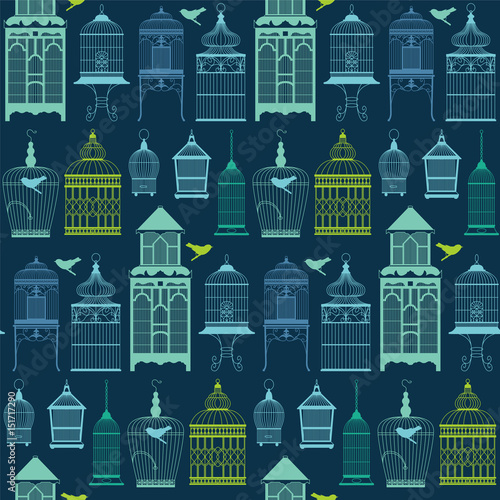 Tablou Canvas Seamless pattern with birdcage.