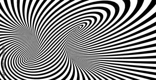 Abstract striped spiral vector black and white background