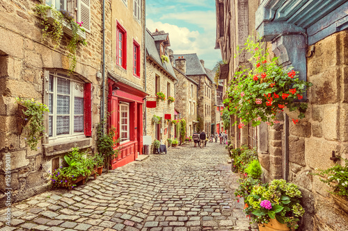 Scenic alley scene in an old town in Europe