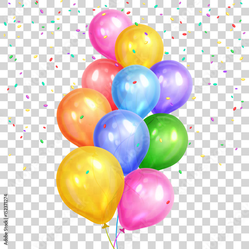Leinwand Poster Bunch of colorful helium balloons isolated on transparent background