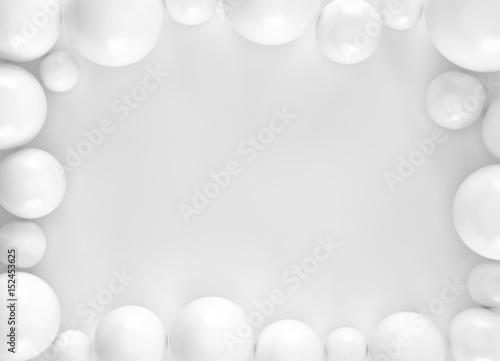 Fototapeta premium Biały abstrakcjonistyczny sfery piłki tło dla twój projekta. Renderowania 3d