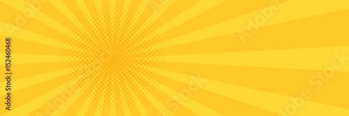 Fotografia Vintage pop art yellow background. Banner vector illustration