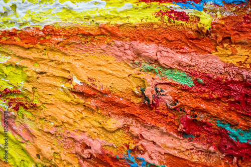Thick dense layers of paint as abstract modern messy texture pattern surface colorful background