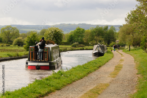 Obraz na płótnie Narrowboats on the Shropshire Union canal in England UK