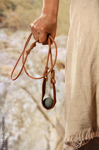 Valokuva Hand of David Holding Slingshot